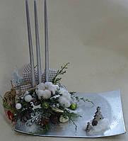 Подсвечник новогодний со свечами бело-серебристый