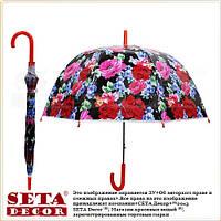 Прозрачный зонт-трость, купол Красные розы и васильки (цветочный орнамент)