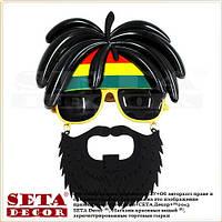"""Очки """"Ямайка"""" с волосами и бородой карнавальные"""