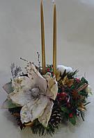 Подсвечник новогодний со свечами в красно-золотистых тонах