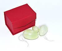 Массажные нефритовые яйца, Шары Венеры (светло зелёный камень)