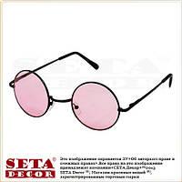 Очки круглые (тишейды) карнавальные с розовыми стеклами