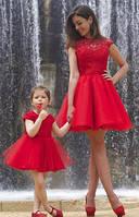 Платье из дорогого гипюра с фатином набор мама и дочка