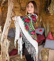 Украинский модный платок для женщин (125х125см,белый)