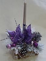 Подсвечник новогодний в серебристо-сиреневых тонах со свечой
