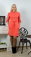 Платье с поясом коралл, фото 1
