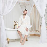 Мужской махровый халат с атласным воротником Guddini 019 - M(46-48) кремовый