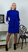 Платье с поясом электрик, фото 1