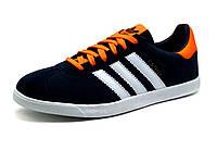 Кроссовки мужские Adidas Gazelle, темно-синие с белым и оранжевым, фото 1