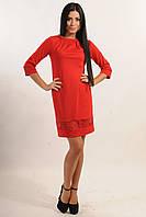 ПЛАТЬЕ АССОЛЬ красный, классического А-образного силуэта, рукав 3/4, с кружевными вставками, 42-52 размера