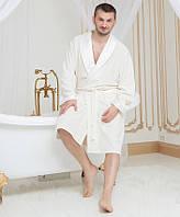 Мужской махровый халат Guddini с атласным воротником кремовый L (52-52)