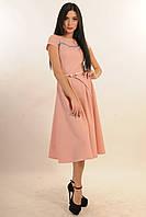 ПЛАТЬЕ СИЛЬВИЯ РОЗОВЫЙ,из костюмной ткани, ниже колена, отрезное по талии, юбка расклешенная,  42-52 размера