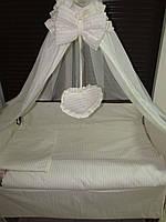 """Постельный набор  в детскую кроватку  """"Жакард"""" в полоску 8 эл."""