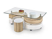 Журнальный стол с пуфами Nina 4 Дуб Sonoma/белый