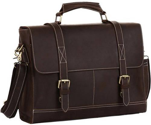 Мужской портфель кожаный TIDING BAG t1118 темно-коричневый