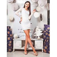 Платье из ангоры с гепюровыми вставками  0225 белый, фото 1