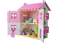 Деревянный кукольный домик с мебелью Wooden Toys (Польша) 56*44*25см арт. ZA190944