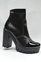 Черные кожаные ботинки на толстой подошве. Украина.