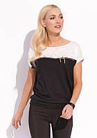 Женская летняя блуза с коротким рукавом черного цвета. Модель Renna Zaps, коллекция весна-лето 2016.