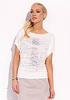 Женская летняя блуза с коротким рукавом молочного цвета. Модель Sonia Zaps, коллекция весна-лето 2016.