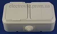 Блок выключатель двойной + розетка с заземлением и крышкой