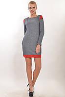 ПЛАТЬЕ ТРИНИТИ ВИШНЯ, платье полуприлегающего силуэта с двумя карманами, трехнитка, замша, 42-52 размер