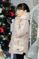 Детская куртка на девочку с сумочкой ''Красотка'' бежевая 32,34