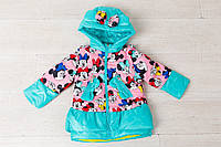Детская курточка  на девочку весна-осень  Микки Минни Маус, мята