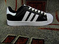 Мужские кроссовки Адидас Superstar черные с белым