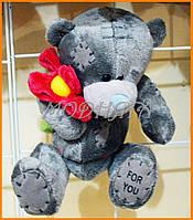 Мишки тедди сердцем, с цветком 20 см | Мягкие детские игрушки