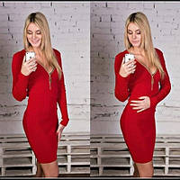 Красное платье женское с молнией