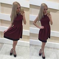 Стильное бордовое женское платье 2016