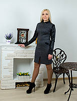 Платье кожаный рукав серое, фото 1