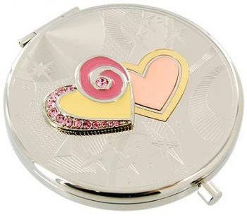 Изумительное карманное зеркальце Два сердца Jardin D'ete 98-0563A, серебристый