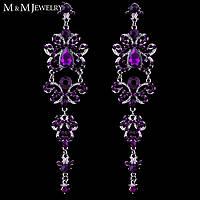 Серьги-люстры с фиолетовыми камнями для невесты