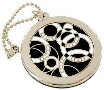 Изящное карманное зеркальце на цепочке Jardin D'ete 98-0782, серебристый/черный