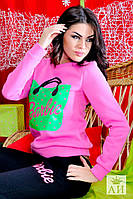Женский спортивный костюм Барби вверх розовый,низ черный