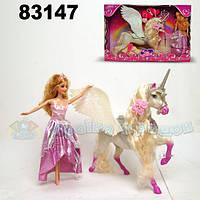 Кукла типа Барби Jinni 83147 с единорогом-пегасом,расческой,зеркалом