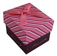 Коробочка для часов подарочная, с подушечкой, фиолетово-белая полоска