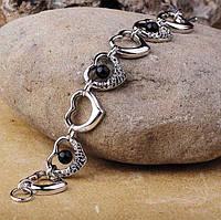 Серебряный родированный браслет с сердечками Украина (фианит, оникс)