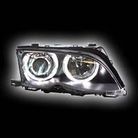 """Альтернативная оптика для BMW E46 `02-`05 Седан/Универсал, фары, """"ангельские глазки"""", с электрокорректорм, черный, проз.Type 1 NO (тюнинг оптика, цена"""
