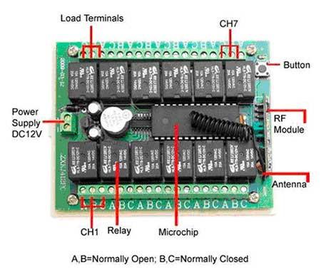 4-канальное беспроводное реле 12В, 2 пульта режимы