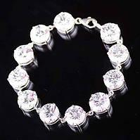 Серебряный браслет с большими камнями (фианиты)