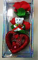 "Сувенир, подарок  ""Мишка с букетом и сердцем!"