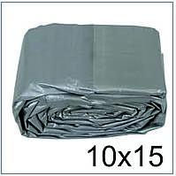 Тент 10*15 м., готовые размеры в ассортименте, плотный 120 г/м2 серебряный с УФ-защитой