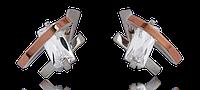 Серебряные серьги 925 пробы со вставками золота 375 пробы Агата