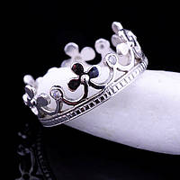 """Женское кольцо """"Корона"""" из белого золота с фианитами"""