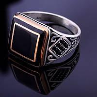 Серебряная печатка с фианитами (эмаль, медь, родий)