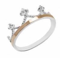 Кольцо Корона серебро с золотом и фианитами 829/1