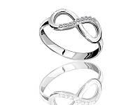 Серебряное родированное кольцо Бесконечность к00444